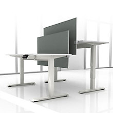 "EZ Lift Set of Two Height Adjustable Desks with Privacy Screens - 60""W, 8804151"