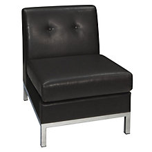 Wall Street Armless Guest Chair in Faux Leather, AVN-211027