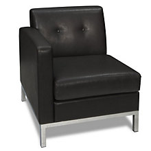 Wall Street Left Single Arm Chair in Faux Leather, AVN-211029
