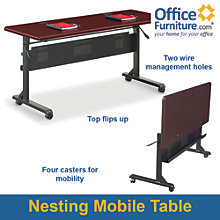 "Mobile Flip-Top Table - 60""W x 24""D, BAL-11156"