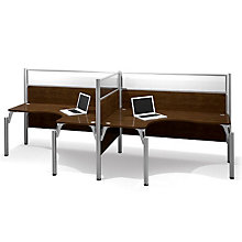 Pro Biz Side-by-Side Double L-Shaped Workstation with Plexiglass Panels, 8802833