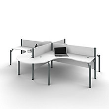 "Pro Biz Four Rounded L-Desks with 43""H Panels, 8804841"