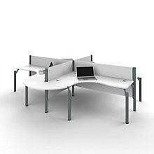 """Pro Biz Four Rounded L-Desks with 43""""H Panels, 8804841"""