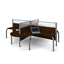 "Pro Biz Four Rounded L-Desks with 55.5""H Panels, 8804842"