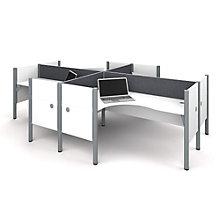 "Pro Biz Four L-Desks with 43""H Tack Board Panels, 8804843"