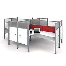 "Pro Biz Four L-Desks with 55.5""H Tack Board Panels, 8804844"