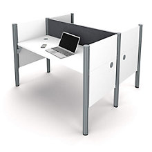 "Pro Biz Double Workstation with 43""H Tack Board Panels, 8804845"