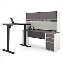 Connexion L-Desk with Adjustable Height Reversible Return and Hutch , 8803936