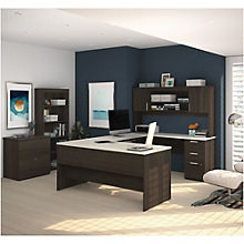 Ridgeley U-Shaped Desk with Bookcase and File, 8807792