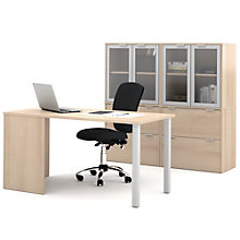 "i3 Table Desk and Double Glass Door Storage Units - 60""W, 8802196"