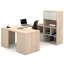 "i3 U-Shaped Desk Set With Storage and Hutch - 88.5""W, 8802198"