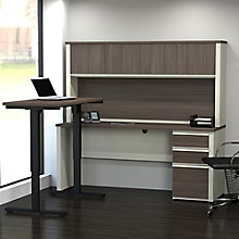 Prestige Plus L-Desk with Adjustable Height Reversible Return and Hutch , 8803935