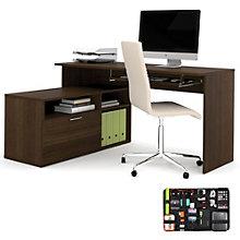 Modula Reversible L-Shaped Workstation with Grid-It Desk Organizer, 8804571
