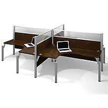 Pro Biz Four Person L-Desk Workstation with Acrylic Privacy Panels, 8804737