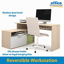 Modula Reversible L-Shaped Workstation, BES-90426