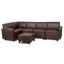 Tyler Five Seat L-Sofa in Faux Leather with Reversible Top Ottoman, BOC-11016