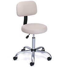 Beige Vinyl Doctor's Stool with Adjustable Height Back, BOC-B245