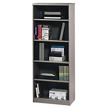 "White Spectrum and Pewter Five Shelf Bookcase - 19""D, BSH-WC14568"