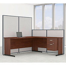 "Single Pedestal L-Desk Desk & Panel Set - 74""W, 8805221"