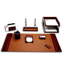 Mocha Leather 10-Piece Desk Set, DAC-D3020