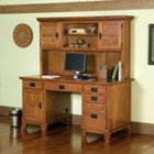 Cottage Oak Double Pedestal Computer Desk with Hutch, HOT-5180-184