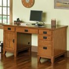 Cottage Oak Double Pedestal Computer Desk, HOT-5180-18
