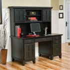 Ebony Double Pedestal Computer Desk with Hutch, HOT-5181-184