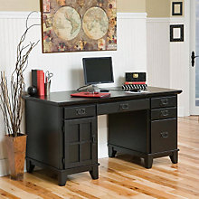 Ebony Double Pedestal Computer Desk, HOT-5181-18