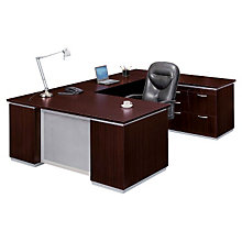 Mocha Personal File Credenza U-Desk with Right Bridge, DMI-7020-507FP