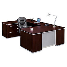 Mocha Personal File Credenza U Desk with Left Bridge, DMI-7020-508FP