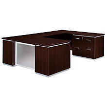 Mocha Lateral File Credenza U-Desk with Right Bridge, DMI-7020-537FP