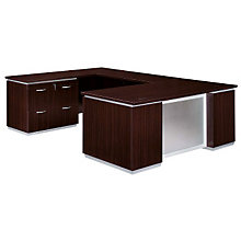 Mocha Lateral File U-Desk with Left Bridge, DMI-7020-538FP