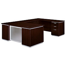 Mocha Executive U Desk with Right Bridge, DMI-7020-57FP