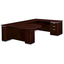 Mocha Peninsula U-Desk with Right Bridge, DMI-7020-647FP