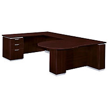Mocha Peninsula U-Desk with Left Bridge, DMI-7020-648FP