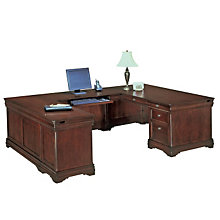 Chocolate Patina Finish Executive Left U Desk, DMI-7684-58