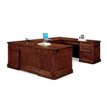 Arlington Medium Walnut U-Desk with Right Bridge, DMI-7750-78