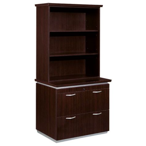 Mocha Lateral File With Bookcase Hutch Officefurniture Com