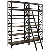 "Headway 10 Shelf Double Bookcase with Ladder - 90""H, 8802674"