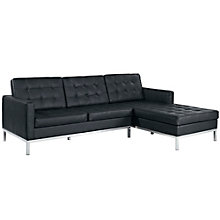 Right-Facing Leather Sectional, 8806398