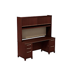 "Enterprise Double Pedestal Desk with Hutch - 72""W, 8808125"