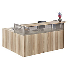 Right Return Reception L-Desk with Pedestal in Warm Ash, 8804291
