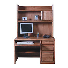 Contemporary Compact Computer Desk with Hutch, OFG-DH0058