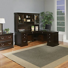 Kathy Ireland Fulton L-Desk with Hutch and Lateral File, 8804549