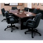 "Figured Mahogany Boat Shape Conference Table - 96"" x 48"", GLO-GCT8WBXBU"