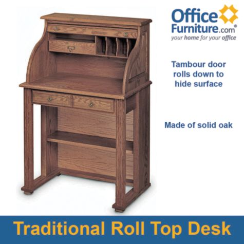 Compact Solid Wood Roll Top Writing Desk 29w