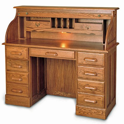 Solid Wood Double Pedestal Roll Top Desk 51w