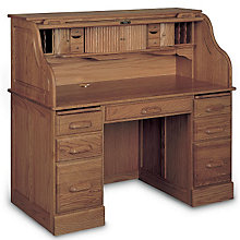 "Solid Wood Double Pedestal Roll Top Desk - 54""W, HAU-8268"