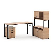 Manage Computer Desk with File and Raised Hutch Set, 8802366
