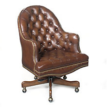 Seven Seas Button Tufted Desk Chair in Leather, HOO-10865